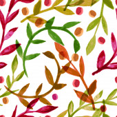 Watercolor vector seamless pattern with colorful autumn leaves — Stock Vector