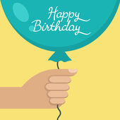 Hand holding Happy Birthday blue balloon, vector illustration — Stockvector