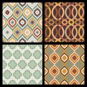 Set of seamless autumn patterns. Abstract  geometric wallpaper.  — Stock Vector