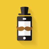 Hipster mobile phone icon with mustache and hat, vector flat sty — Stock Vector