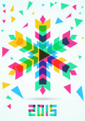 Abstract colorful vector snowflake with winter background. Chris — Stock Vector