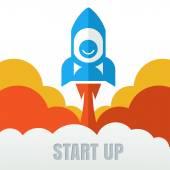 Rocket launcher. Creative business start up concept . Vector car — Stock Vector