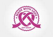 Vintage style ribbon heart label. Vector logo template.  — Stock Vector