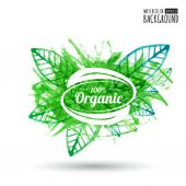 Organic product badge on green leaf texture. Watercolor vector i — Vetor de Stock