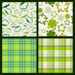 Cotton plant floral and green plaid background. Vector seamless — Stock Vector #55916997