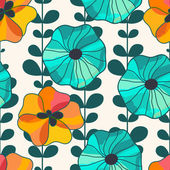 Vector seamless hand-drawn pattern with flowers and leaves. Colo — Stock Vector