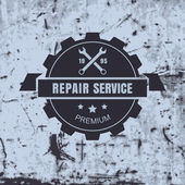 Vintage style car repair service label on rusty background. Vect — Stock Vector
