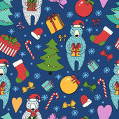 Merry Christmas and Happy New Year colorful seamless background. — Stock Vector