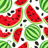 Watercolor watermelon slices, seamless background. Vector illust — Stock Vector
