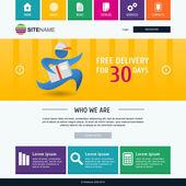 Corporate metro website template. Modern flat web design. Colorf — Stockvektor