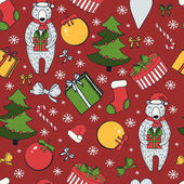 Merry Christmas and Happy New Year colorful seamless background. — Vetorial Stock
