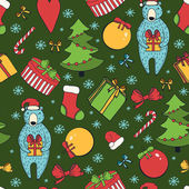 Merry Christmas and Happy New Year colorful seamless background. — Stok Vektör