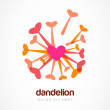 Abstract heart dandelion flower symbol. Vector logo template. De — Stock Vector #59032433