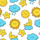 Funny sketching star, sun, cloud, moon. Vector seamless cartoon — Stock Vector