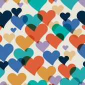 Vector seamless hand-drawn pattern with colorful hearts. Valenti — Stock Vector