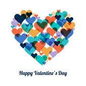Feliz dia dos namorados cartão com fundo de corações. Ilustração em vetor. Convite de casamento. — Vetor de Stock