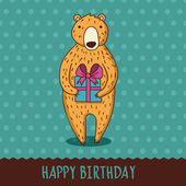 Cute cartoon bear with blue gift box. Vector illustration. Happy — Stock Vector