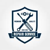Vintage style car repair service shield label. Vector logo desig — Stock Vector