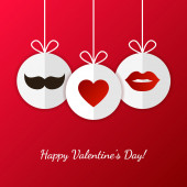 Happy Valentines Day greeting card. Womens lips, mens mustache — Stock Vector