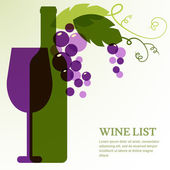 Wine bottle, glass and branch of grape with leaves.  — Stock Vector