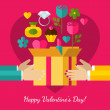 Happy Valentines Day greeting card. Set of flat design concept — Vector de stock  #63015759