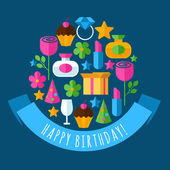 Happy Birthday greeting card. Set of flat design concept icons f — Stockvektor