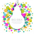 Light bulb silhouette with colorful circles. Vector illustration — Stock Vector #64337311