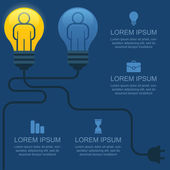 Creative light bulb with people, business, social, strategy, con — Vector de stock