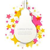 Creative light bulb silhouette with colorful stars. Vector illus — Vector de stock