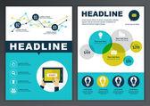 Set of vector template for brochure, flyer, poster, application  — Vector de stock