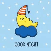 Funny sketching sleeping moon and stars. Vector cartoon illustra — Vecteur