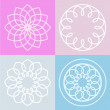 Set of lotus flower symbol and background. Vector line illustrat — Stock Vector #68588613