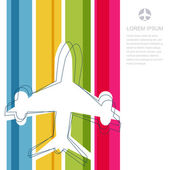 Flight airplane silhouette and rainbow stripes background with p — Stockvector