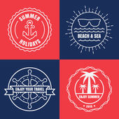 Set of sea and summer nautical signs, badges and labels. Vector  — Wektor stockowy
