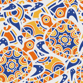 Hand drawn blue and orange seamless pattern. Vector ethnic backg — Stock Vector