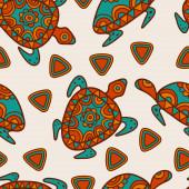 Hand drawn tribal blue and orange background. Vector seamless et — ストックベクタ