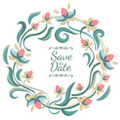 Vector pastel color floral frame with flowers. Wedding, birthday — Stock Vector