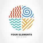 Four elements simple line symbol in circle shape. Vector logo de — Stock Vector #73052085