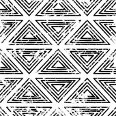 Hand drawn vector line triangle ornament grunge seamless pattern — Stockvector