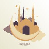Ramadan Kareem vector greeting card, silhouette of golden mosque — Vecteur