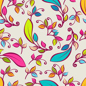 Vector seamless pattern with multicolor decorative leaves. Vecto — Vector de stock