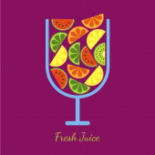 Vector sliced fruits in glass. Fresh juice of watermelon, orange — Stock Vector
