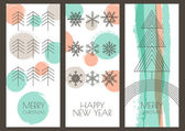 Set of vector hand drawn Christmas, New Year greeting cards. Lin — Stock Vector