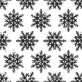 Hand drawn vector seamless pattern with black snowflakes isolate — Stock Vector