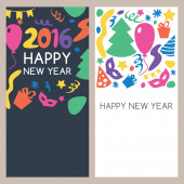 Set of vector multicolor hand drawn New Year greeting cards. — Stock Vector