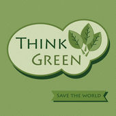 Think Green sticker icon- Save The World — Stock Vector