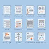 Conceptual web and paper document layouts icons set — Vector de stock