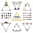 Tribal empty triangles labels, arrows, web elements, signs and symbols set — Stock Vector #53580223