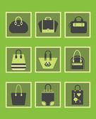 Unique green women purse and handbags icons set — Stock Vector