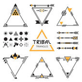 Tribal empty triangles labels, arrows, web elements, signs and symbols set — Stock Vector